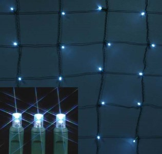 5MM 4'x6' Pure White LED Twinkle Net Light, Green Wire
