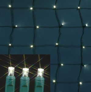 5MM 4'x6' Warm White LED Net Light, Green Wire