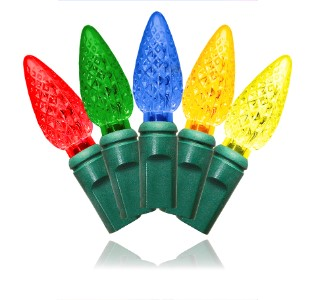 S-70C65M-4G - 70 Count Standard Grade C6 Faceted Multi Colored LED Light Set with in-line rectifer on Green Wire