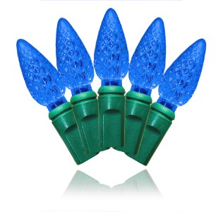 S-70C6BL-4G - 70 Count Standard Grade C6 Faceted Blue LED Light Set with in-line rectifer on Green Wire
