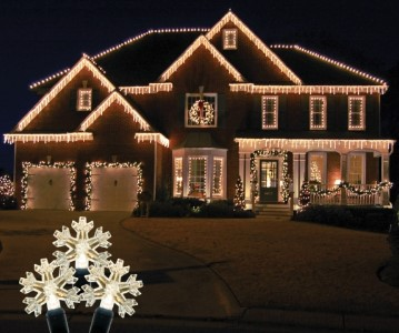 S-ICSNWW-IW - Snowflake Icicle Light Set with Warm White Lights