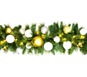 9' Blended Pine Garland Pre-Lit with Warm White LEDs Decorated with The Treasure Ornament Collection
