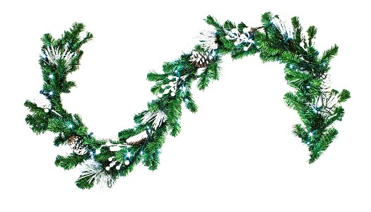 WL-GARFL6-WC-PW - 6' long White Christmas Garland