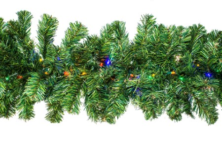 WL-GARPN-09-L5M - 9' Green PVC Pine Garland with 200 tips and Lit with LED Multi Colored lights