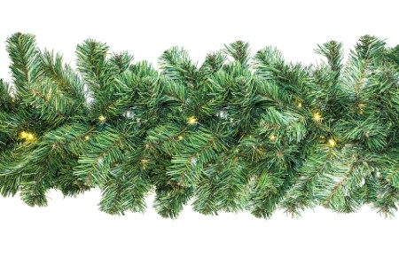 WL-GARPN-09-LWW - 9' Green PVC Pine Garland with 200 tips and Lit with LED Warm White lights