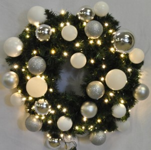 2' Blended Pine Wreath Decorated with The Iceland Ornament Collection Pre-Lit Warm White LEDS