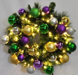 2' Pre-Lit Warm White LED Blended Pine Wreath Decorated with The Mardi Gras Ornament Collection Pre-Lit Warm White LEDS