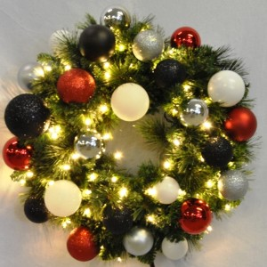 2' Pre-Lit Warm White LED Blended Pine Wreath Decorated with the Modern Ornament Collection