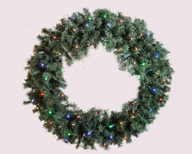 2' Pine Wreath Pre-Lit with Multi Colored LED Lights