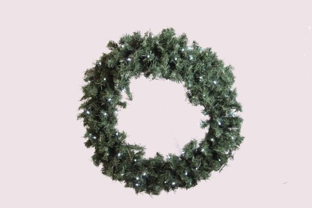 2.5' Pine Wreath Pre-Lit with Pure White LED Lights
