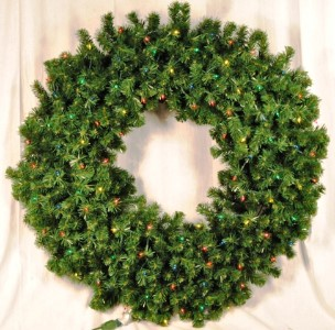 2\' Pre-Lit with Multi Colored LEDS Sequoia Pine Wreath