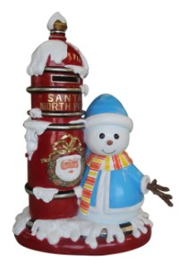 WL-MAILBOX-SNMN - 4.5' Polyresin Santa Mail Box with Snowman