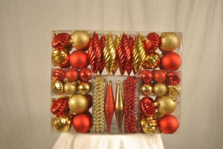 90 Piece Gold and Red Ornament Kit