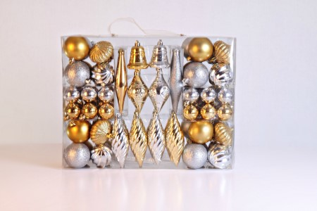 90 Piece Silver and Gold Ornament Kit