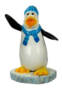 WL-PNG-FNY-BL - Skipper The Funny Penguin With A Blue Scarf