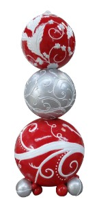 WL-POLYORN-06-RSW 6' Stacked Ornaments Red White and Silver