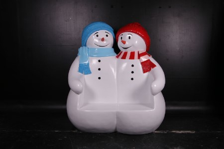 WL-SNMN-BENCH-DBL- Polyresin Double Seat Snowman Bench