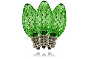 C7 Faceted Green Twinkle LED Retrofit Lamp with 3 internal LEDs and an E12 Base
