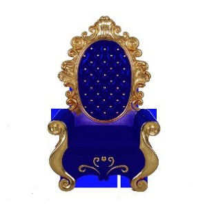 "63"" Blue and Gold Santa Throne"