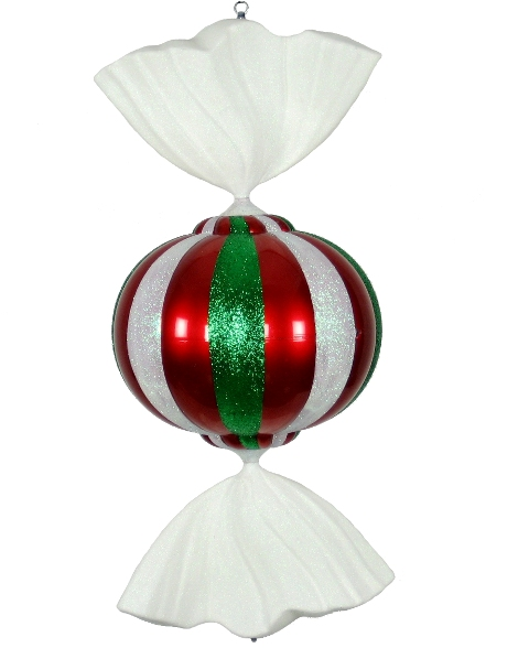 Peppermint 3' Red, White, and Green Candy Ornament