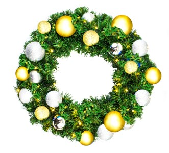 2' Blended Pine Wreath Decorated with the Treasure Ornament Collection Pre-Lit Warm White LEDS