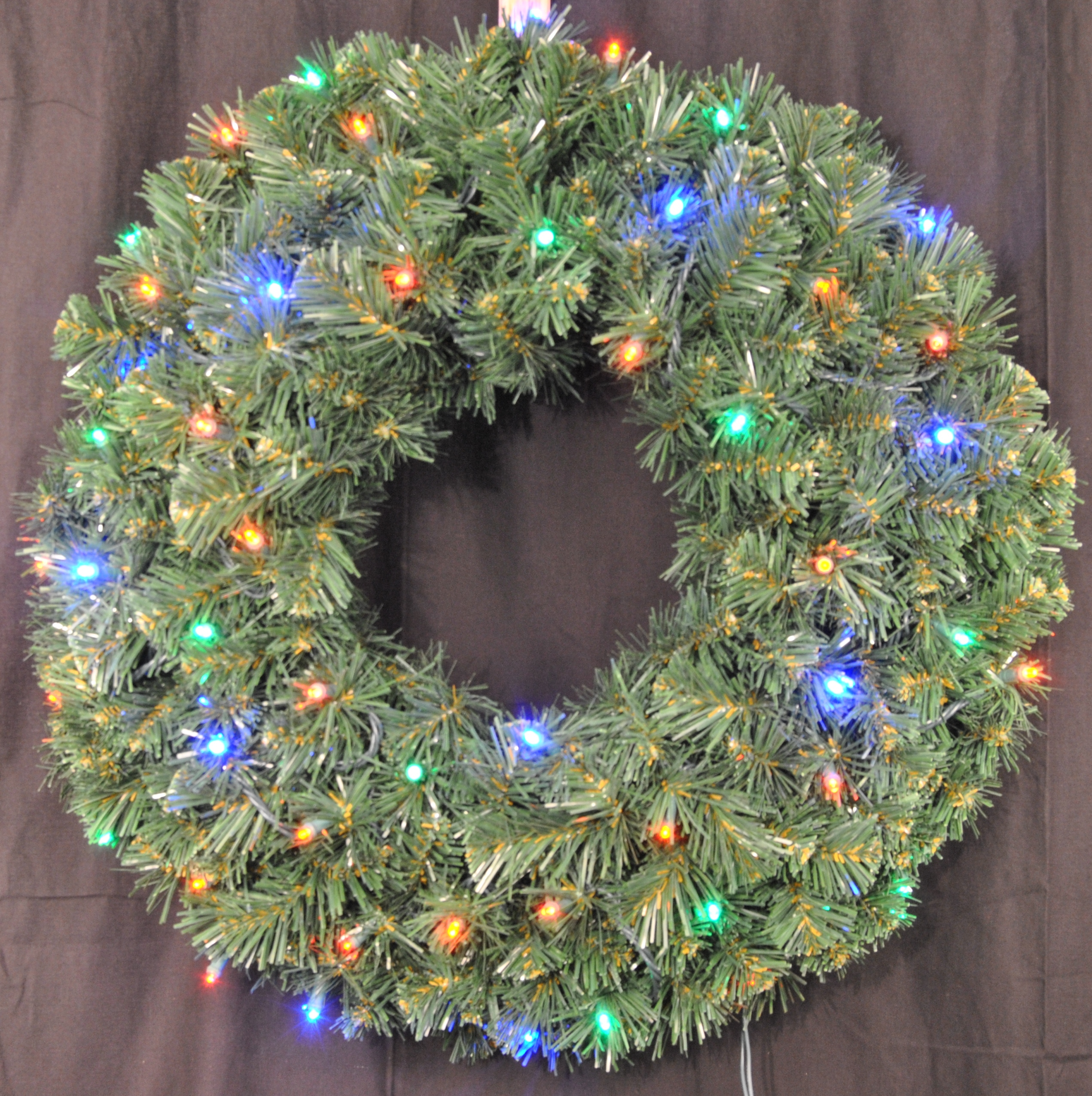 3' Battery Operated Sequoia Wreath Pre-Lit with Multi-Color LEDs