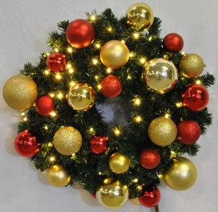 Sequoia 3' Wreath Decorated with The Red and Gold Collection Pre-Lit Warm White LEDs