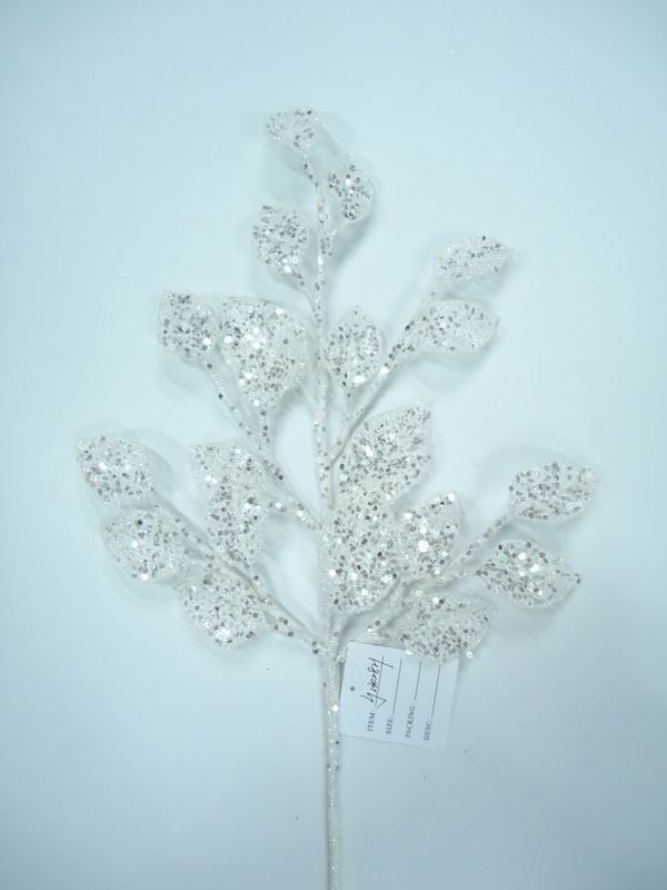 Glitter White Leaf Pick 24