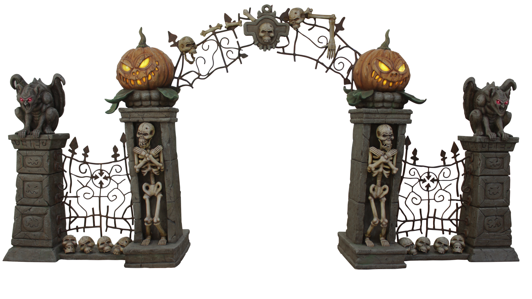 Skeleton, Pumpkin, and Gargoyle Arch
