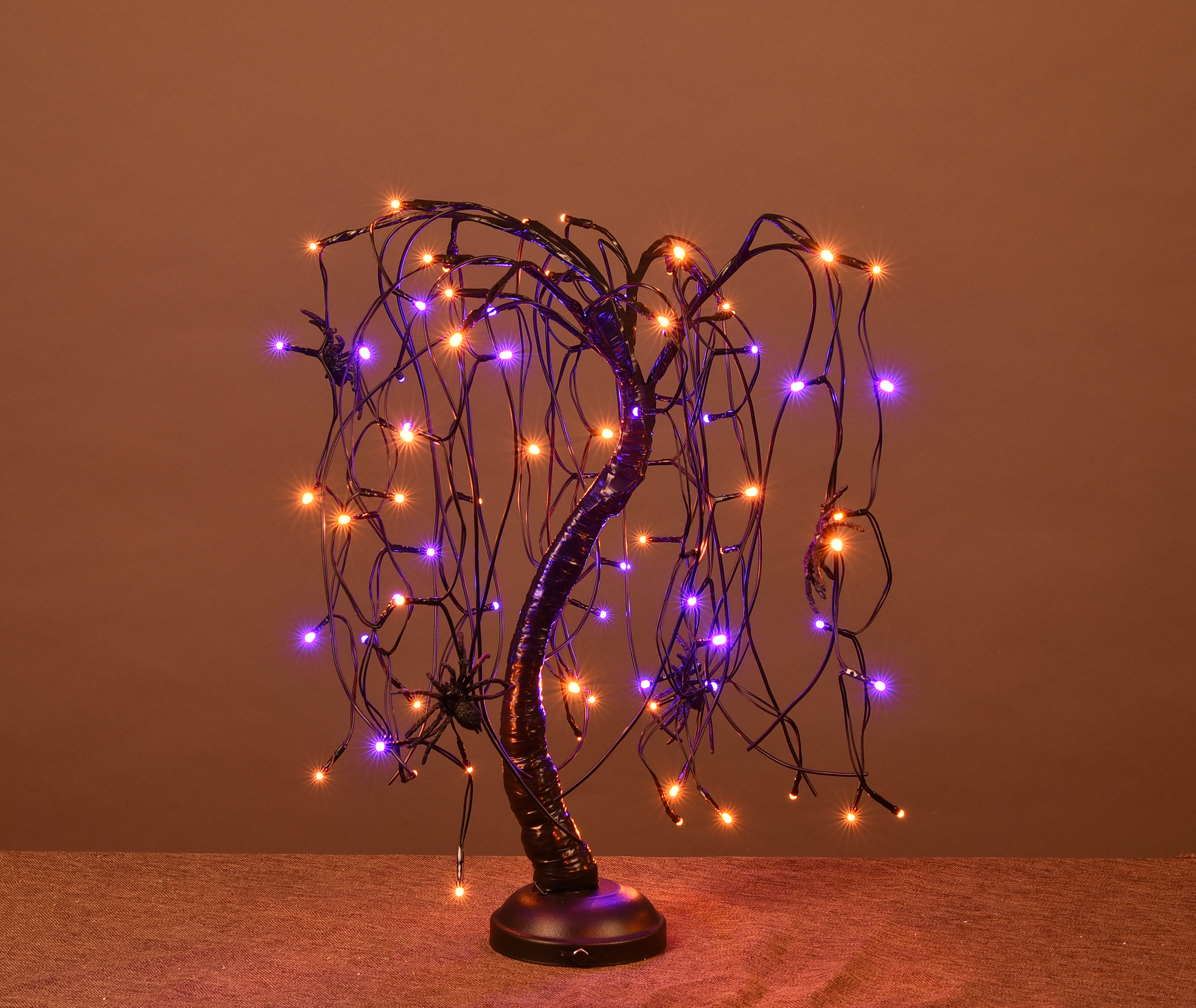 2' Halloween Willow Bonsai Tree Purple and Orange LEDs