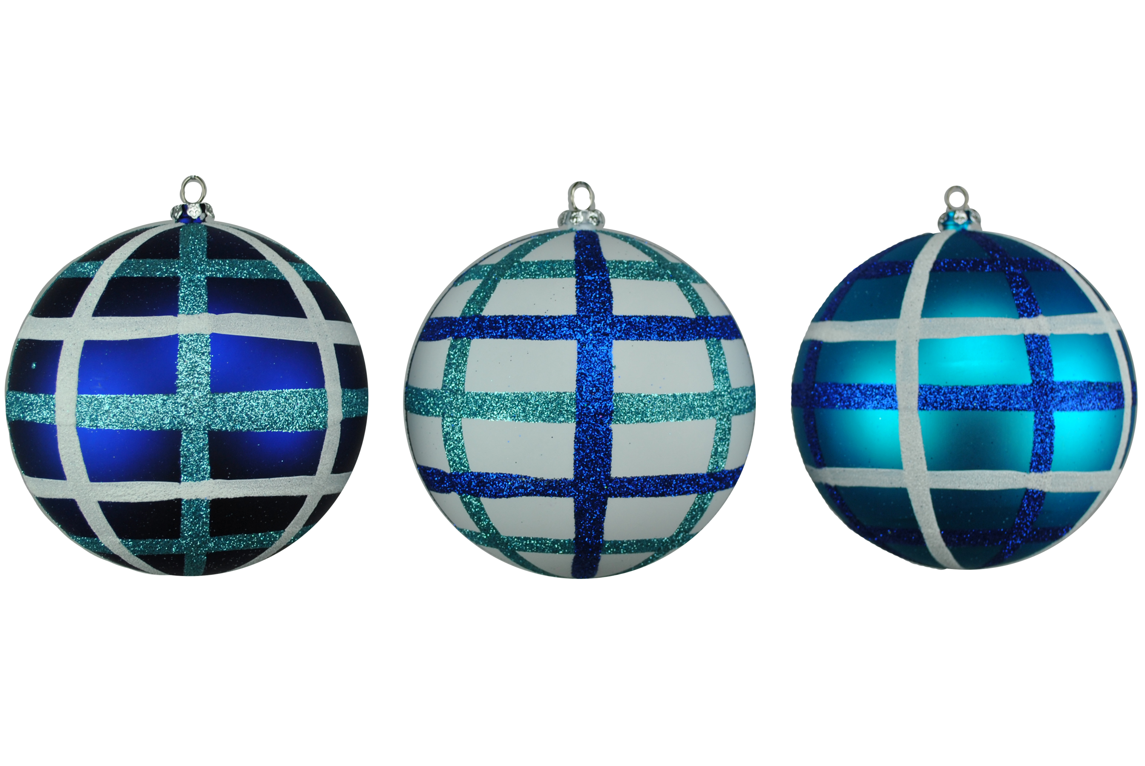 TEAL, BLUE & WHITE 100MM BALL ORNAMENTS 3PK