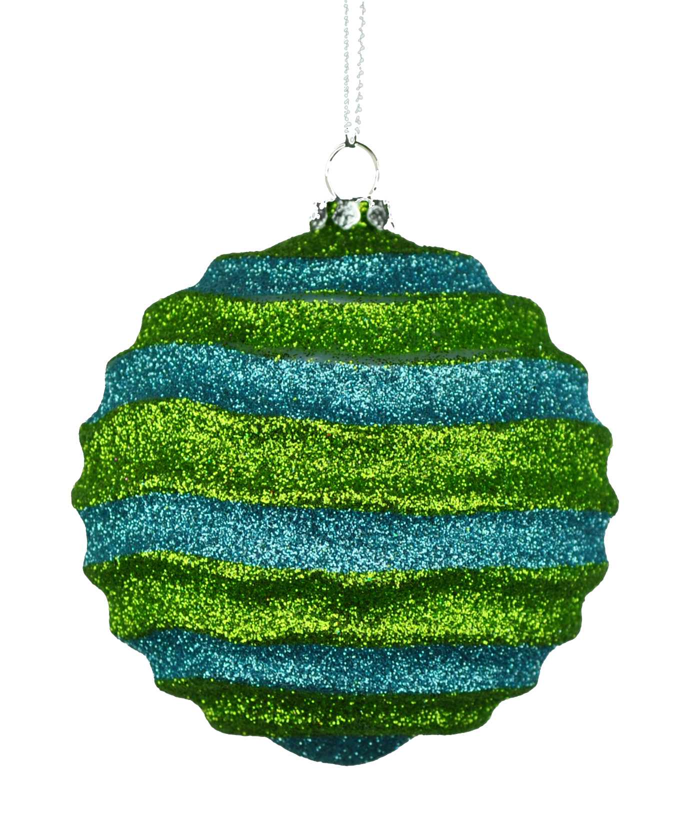 Lime Green & Teal Wavy Striped Ball Ornament 80mm