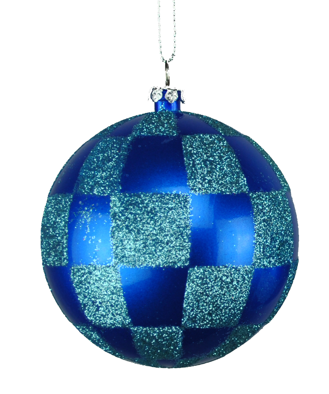 BLUE & TEAL CHECKERED BALL ORNAMENT 80MM