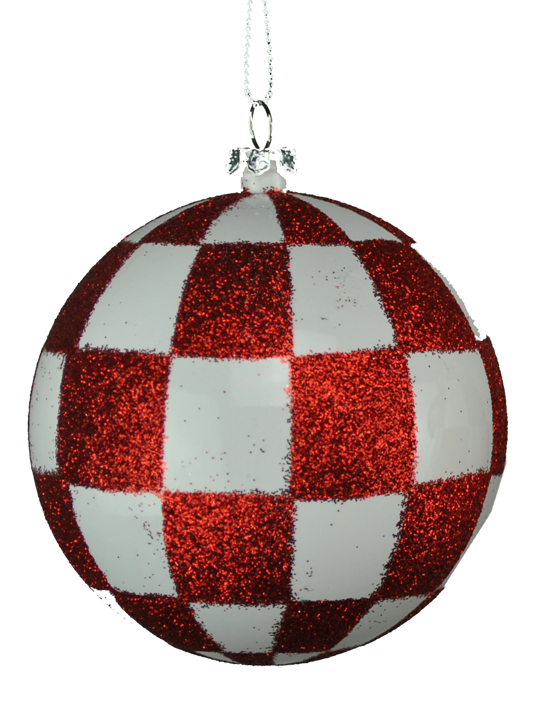 WHITE & RED CHECKERED BALL ORNAMENT 80MM