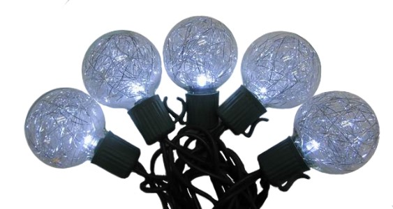 Pure White LED Lights 10 G40 with Silver Tinsel