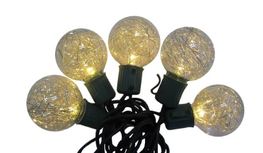 Warm White LED Lights 10 G40 with Gold Tinsel