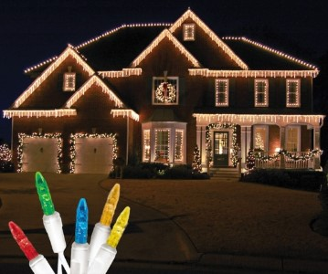 Standard Grade M5 Multi Colored Icicle LED Light Set on White Wire