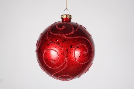 Red Ball Ornament with Red Glitter Design 120MM