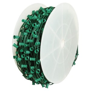1000' C7 Cordset E12 Sockets on Green Wire with 7.5