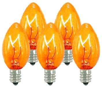 Dimmable Incandescent C7 Transparent Orange/Amber Bulbs E12 Base