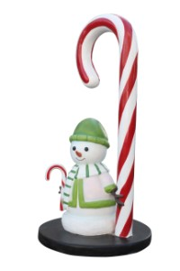 Candy Cane with Snowman Mini