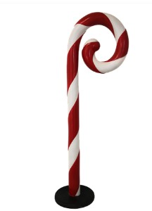 Swirled 5' Candy Cane with Base