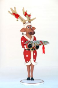 Funny Female Reindeer with Christmas Box