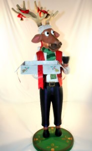 Funny Male Reindeer with Christmas Box