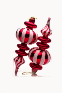 Red Finial Ornament with White Glittered Stripes 2pk