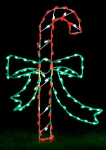 Candy Cane with Bow LED Ground Mount