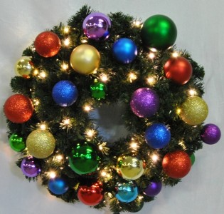 Blended Pine 4' Wreath Decorated with Royal Ornament Collection Pre-Lit with Warm White LEDs