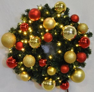 Blended Pine 6' Wreath Decorated with The Red and Gold Collection Pre-Lit Warm White LEDS