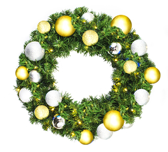 Pre-Decorated 2' Sequoia Wreath with Warm White LEDs and Treasure Ornament Collection