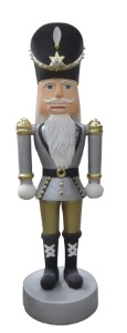 Gold, Silver and White 12' Polyresin Nutcracker